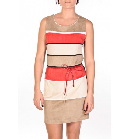 Dress Code Robe Torino beige/rouge/crème