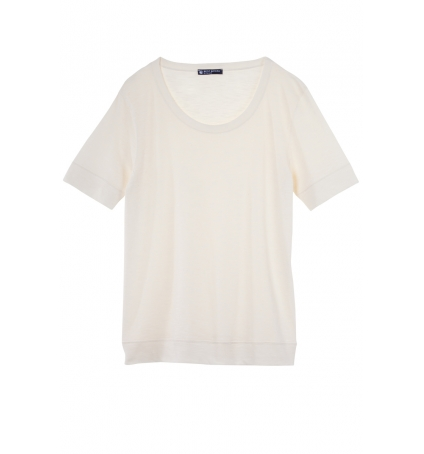 Petit Bateau T-shirt femme col rond en jersey flammé Beige Coquille