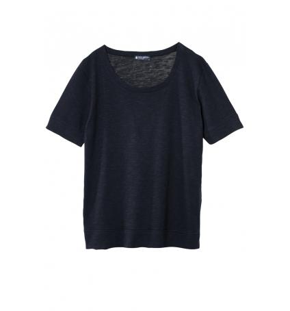 Petit Bateau T-shirt femme col rond en jersey flammé Noir Capecod