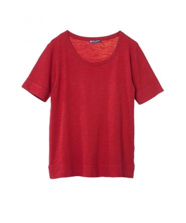 Petit Bateau T-shirt femme col rond en jersey flammé Rouge Passion
