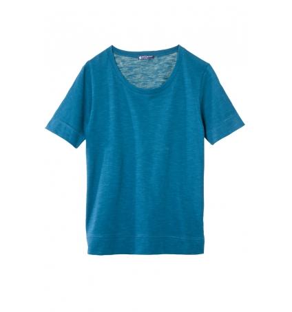 Petit Bateau T-shirt femme col rond en jersey flammé Bleu Niagara