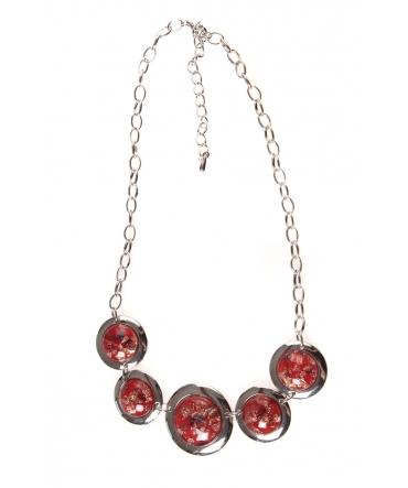 Collier pierres pailletées rouge
