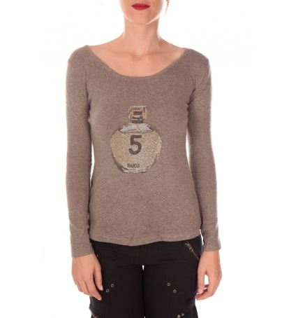 Vision de Rêve Pull Five Col Rond 1036 Taupe -