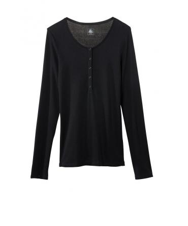 Petit Bateau T-shirt ML Femme Tunisien en Coton léger Noir