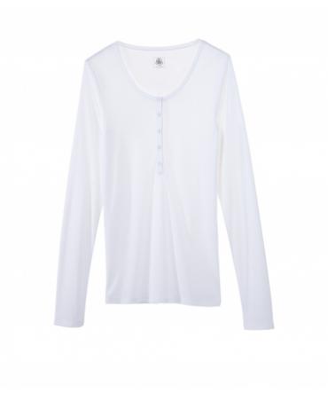 Petit Bateau T-shirt ML femme tunisien en coton léger blanc Ecume