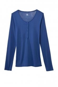 Petit Bateau T-shirt ML femme tunisien en coton léger bleu Shore