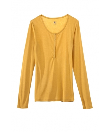 Petit Bateau T-shirt ML Femme Tunisien en Coton léger Jaune inca