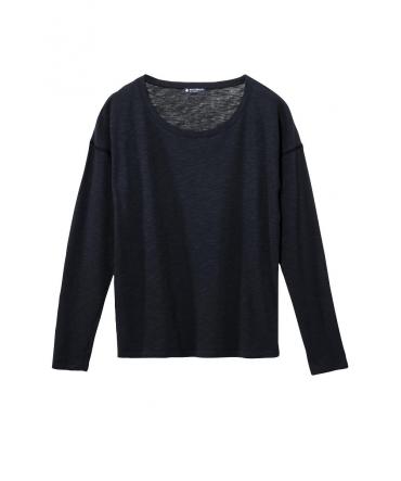 Petit Bateau T-shirt ML Femme Col rond en Jersey flammé Noir Capecod