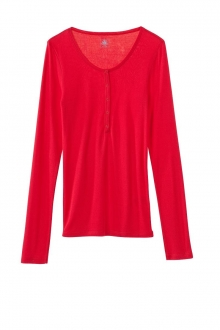 Petit Bateau T-shirt ML Femme Tunisien en Coton léger Rouge Cardea