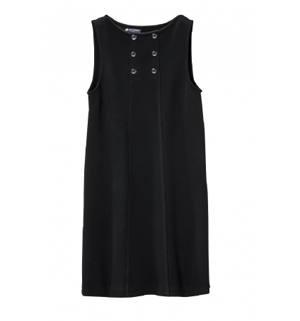 Petit Bateau Robe Femme 3 Boutons en Molleton Fleece Noir