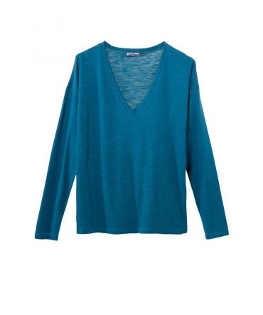 Petit Bateau T-shirt ML Femme Col V en Jersey Flammé Bleu Niagara