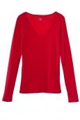 Petit Bateau T-shirt femme col V en coton léger rouge Cardea