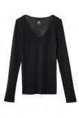 Petit Bateau T-shirt femme col V en coton léger noir