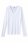 Petit Bateau T-shirt femme col V en coton léger blanc Ecume