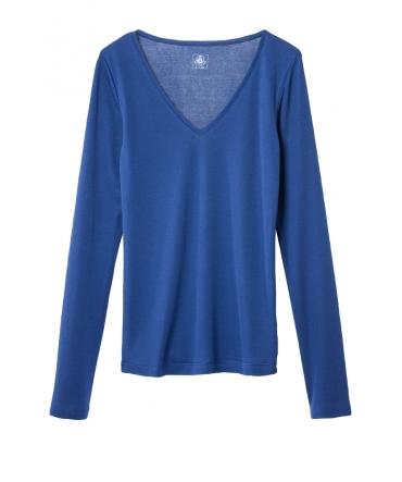 Petit Bateau T-shirt femme col V en coton léger bleu Shore