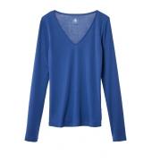 Petit Bateau T-shirt femme col V en coton léger bleu