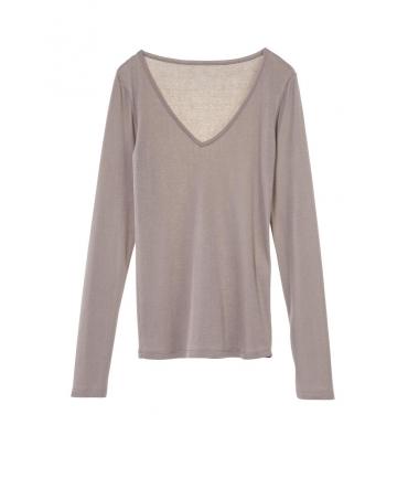 Petit Bateau T-shirt Femme Col V en Coton léger Marron pebble
