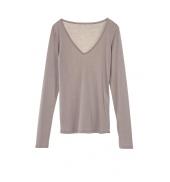 Petit Bateau T-shirt Femme Col V en Coton léger Marron Taupe