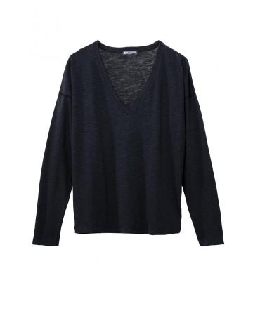 Petit Bateau T-shirt ML Femme Col V en Jersey Flammé Noir Capecod