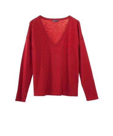 Petit Bateau T-shirt ML femme Col V en Jersey Flammé Rouge passion