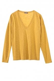 Petit Bateau T-shirt ML Femme Col V en Jersey Flammé Jaune inca