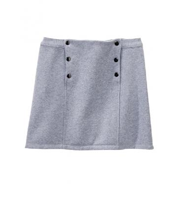 Petit Bateau Jupe courte femme trapèze en molleton fleece gris Subway