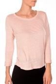 PETIT BATEAU T-shirt femme manches 3/4 encolure ronde en lin rose Pastela