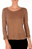 PETIT BATEAU T-shirt femme manches 3/4 encolure ronde en lin marron Camella
