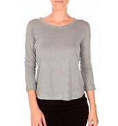 PETIT BATEAU T-shirt femme manches 3/4 encolure ronde en lin gris Grisa