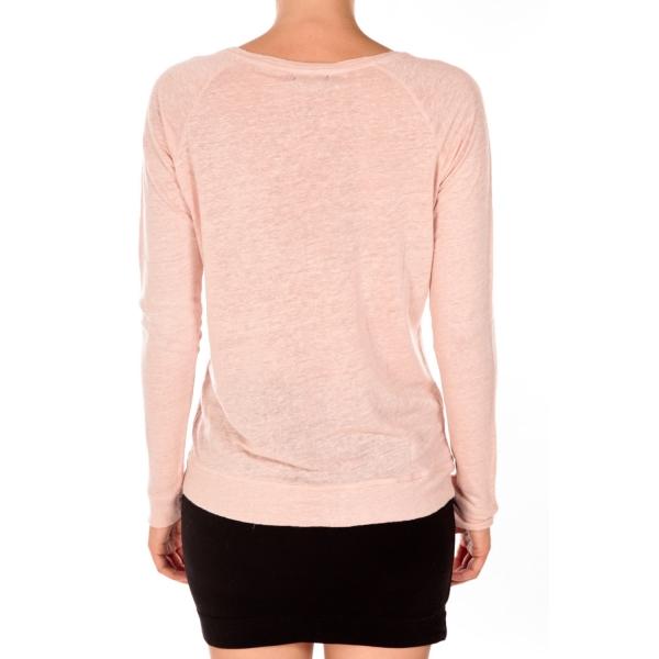 Petit Rose Esprit Manches Sweat Bateaut Lin En Longues Shirt Femme TwrRfqTO