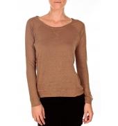 PETIT BATEAU T-shirt femme manches longues esprit sweat en lin marron Camella