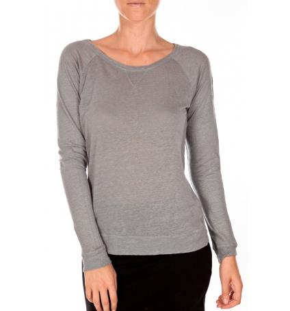PETIT BATEAU T-shirt femme manches longues esprit sweat en lin gris Grisa