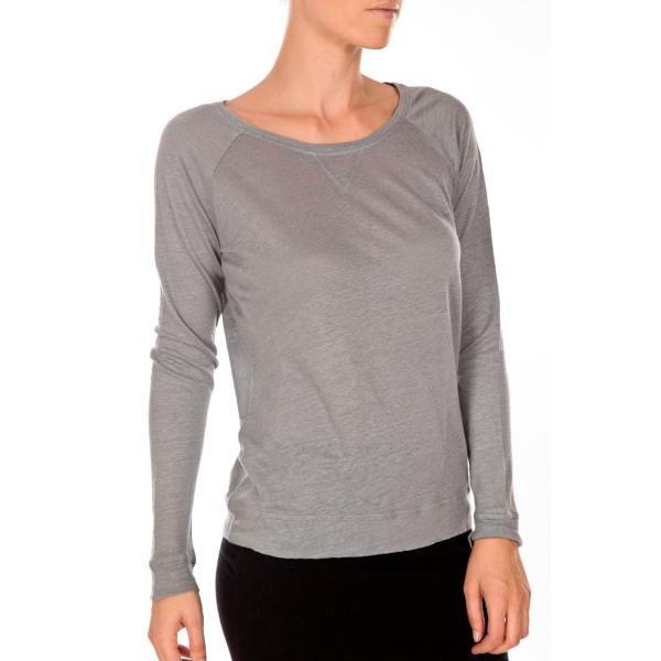 petit bateaut shirt femme manches longues esprit sweat en lin gris grisa. Black Bedroom Furniture Sets. Home Design Ideas