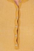 PETIT BATEAU T-shirt tunisien femme en milleraies imprimé vichy jaune Inca / blanc Lait