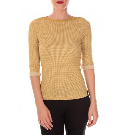 PETIT BATEAU T-shirt femme manche 3/4 en milleraies imprimé vichy jaune Inca / blanc Lait
