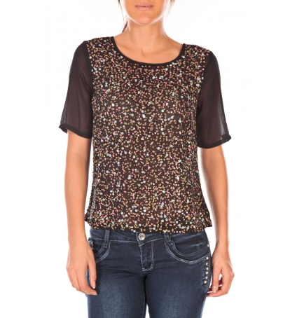 Vero Moda IXUS 2/4 Top HC Wall Aug Noir