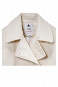 Petit Bateau Caban femme en drap de laine blanc Lait