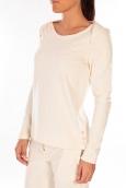 Petit Bateau Sweat Shirt en coton enflammé beige coquille