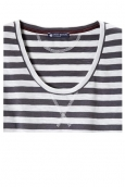 Petit Bateau T-shirt ML femme rayé en jersey flammé Bleu/Blanc