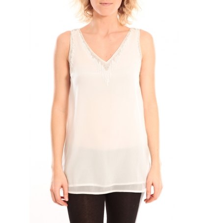 Vero Moda Pearl SL Long Top Blanc