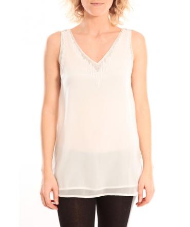 Vero Moda Pearl SL Long Top Blanc