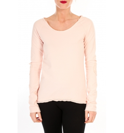 BY LA VITRINE T-shirt Empiècement Pailleté 2119 Rose Poudre