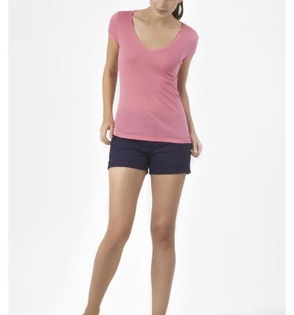 PETIT BATEAU T-shirt femme col V en coton léger 32804 88 Rose