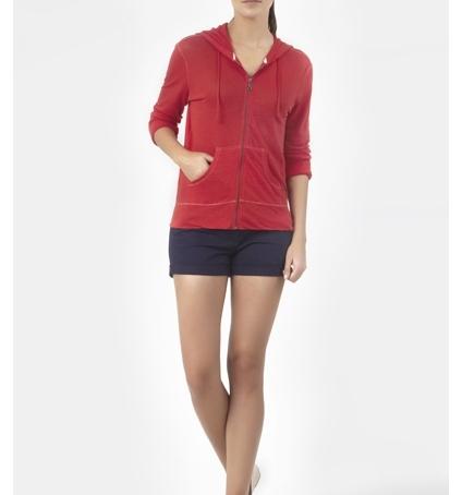 PETIT BATEAU Veste zippée femme à capuche en lin 32928 23 Rouge