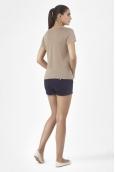 PETIT BATEAU T-shirt femme manches courtes col V en lin 32931 25 Marron