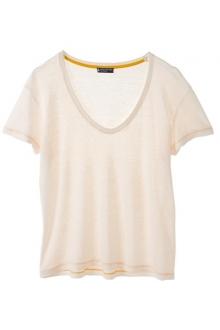 PETIT BATEAU T-shirt femme manches courtes col V en lin 32931 40 Blanc 69e499f5efef