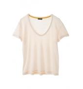 PETIT BATEAU T-shirt femme manches courtes col V en lin 32931 40 Blanc