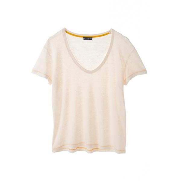 2612d3cc6d0 PETIT BATEAU T-shirt femme manches courtes col V en lin 32931 40 Blanc