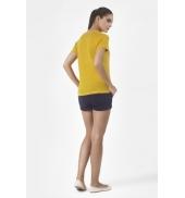 PETIT BATEAU T-shirt femme manches courtes col V en lin 32931 73 Jaune