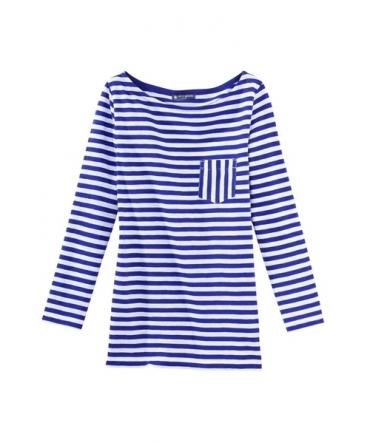 PETIT BATEAU T-shirt femme manches 3/4 rayé en jersey flammé 32329 88 Bleu